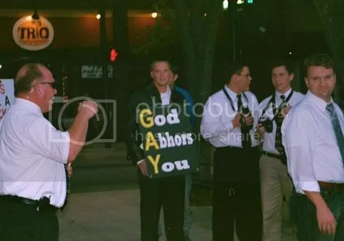 Anti-gay Christian protestors at Seven Straight Nights