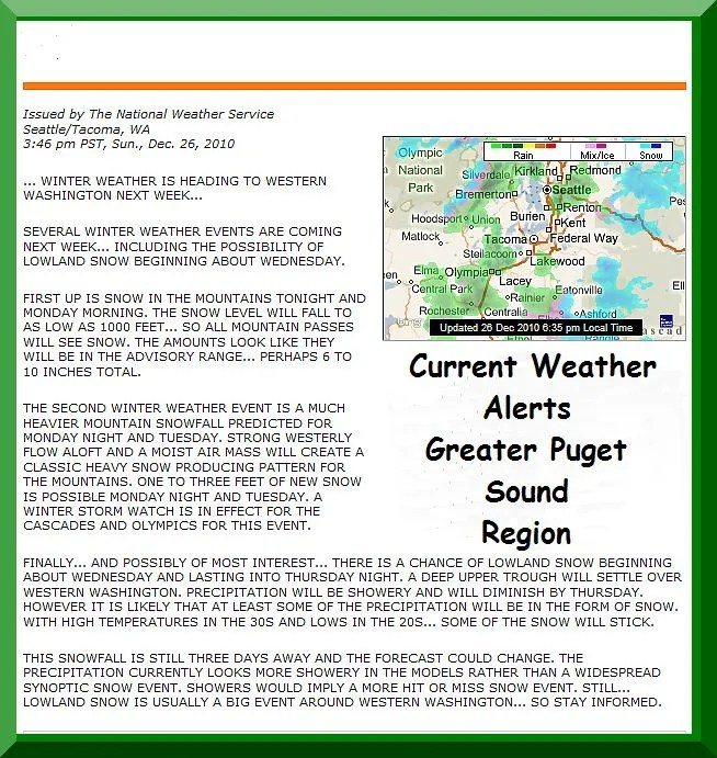 Weather Alerts Greater Puget Sound Region!