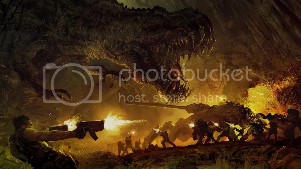 Pictured: The coolest battle ever involving a T-rex, walking tanks, Jin-Roh and a cave.