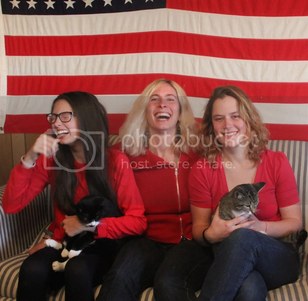 Red, White and Blue, laughing ladies and kittens