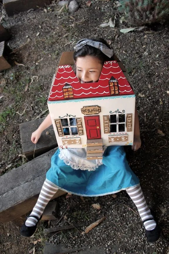 Alice in Wonderland costume with house | Cool Mom Picks