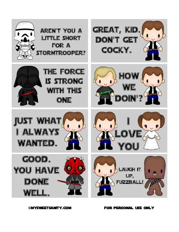 Free printable Star Wars lunchbox notes | My Sweet Sanity