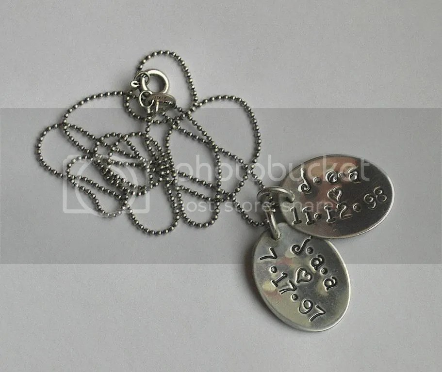 The necklace I wear almost constantly.  Features my boys initials and birthdates.