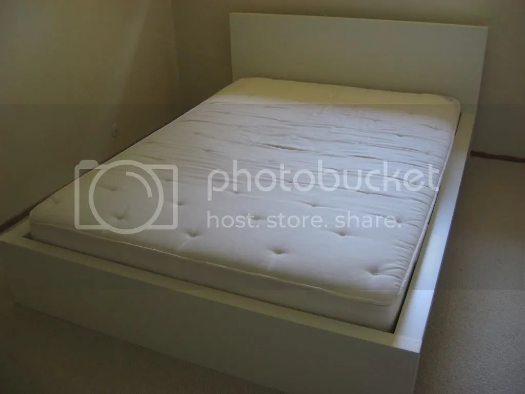 Full IKEA Malm Bed With Headboard Slats Beam Mattress