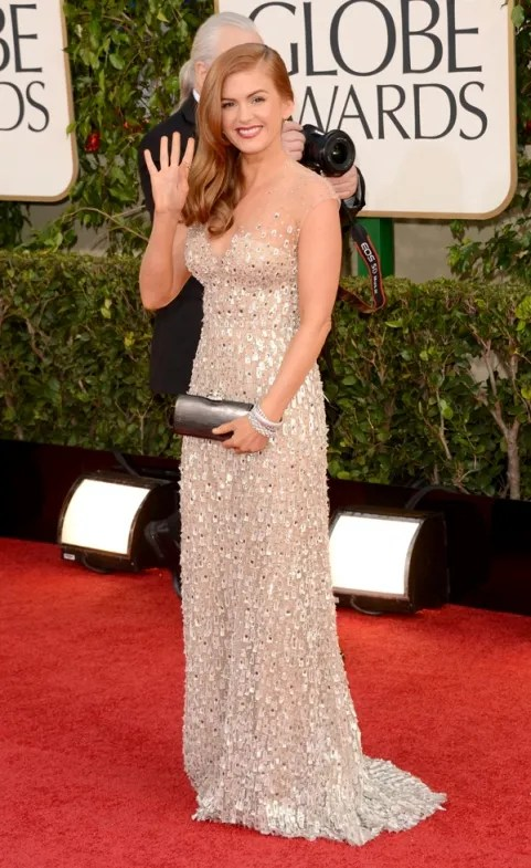 Isla Fisher Golden Globes red carpet