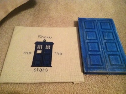 TARDIS cross stitch and River's diary