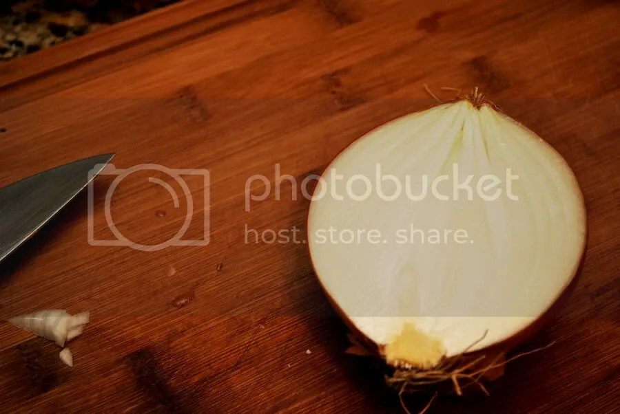 Cut onion in half from root to tip