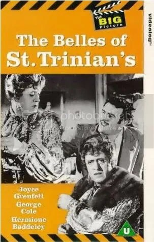 À gauche et en bas de la jaquette, Alastair Sim en Miss Fritton; à droite, George Cole (Flash Harry)