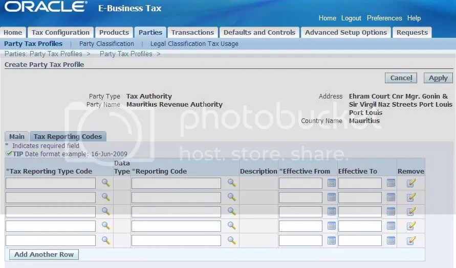 Create  Party Tax Profile - Tax Reporting Codes