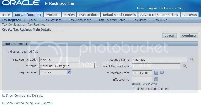 Tax Regime - Main Details
