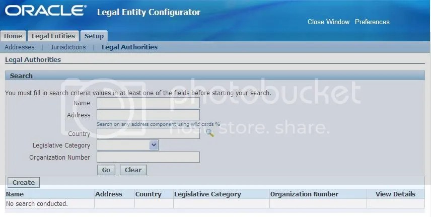 Legal Entity Configurator - Legal Authorities