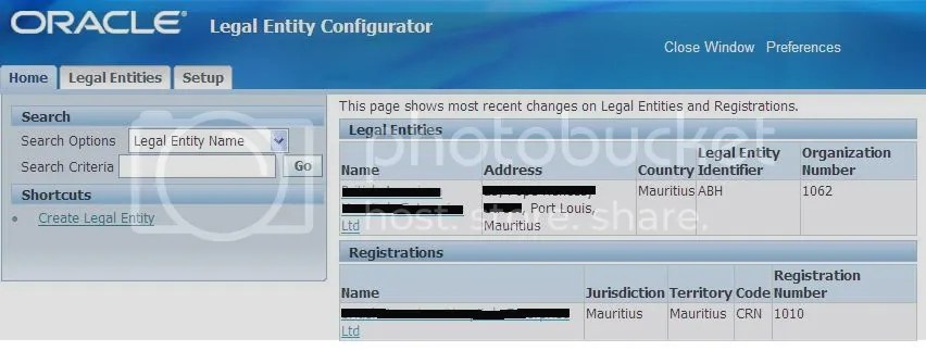 Legal Entity Configurator Homepage