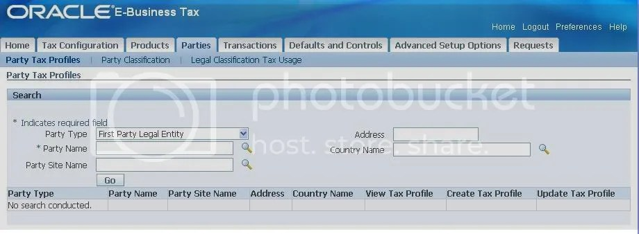 Search First Party Legal Entity - Tax Profile