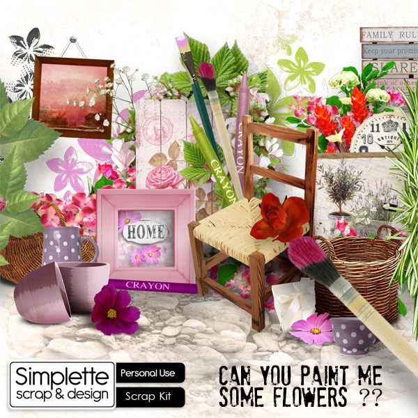 can you paint me some flowers kit by simplette scrap and design