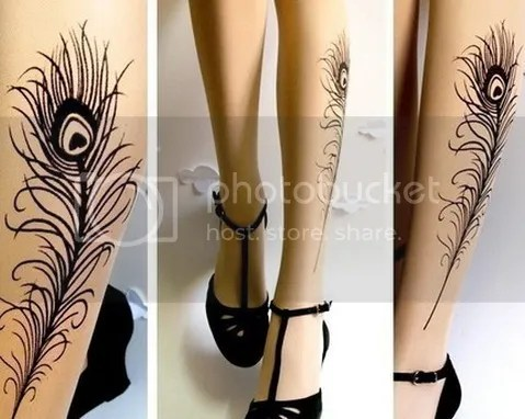 Aren't these peacock feather tattoo thigh-high stockings-socks pretty!