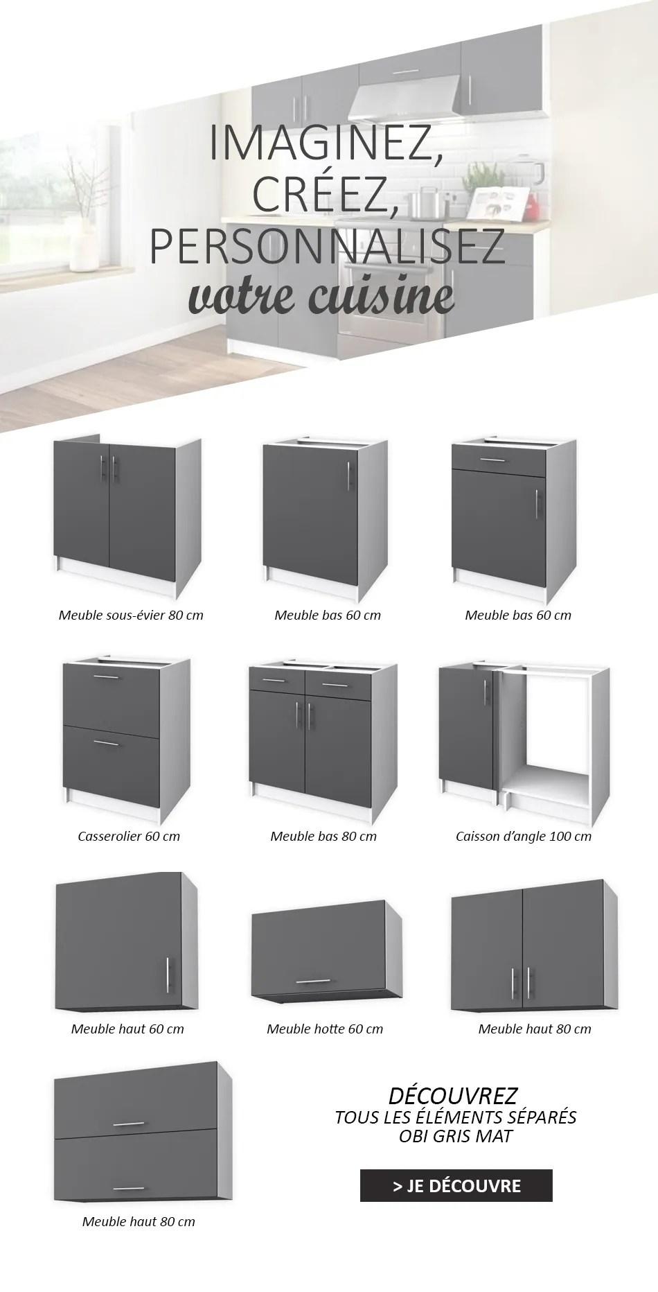 elements bas obi meuble bas 80 cm gris