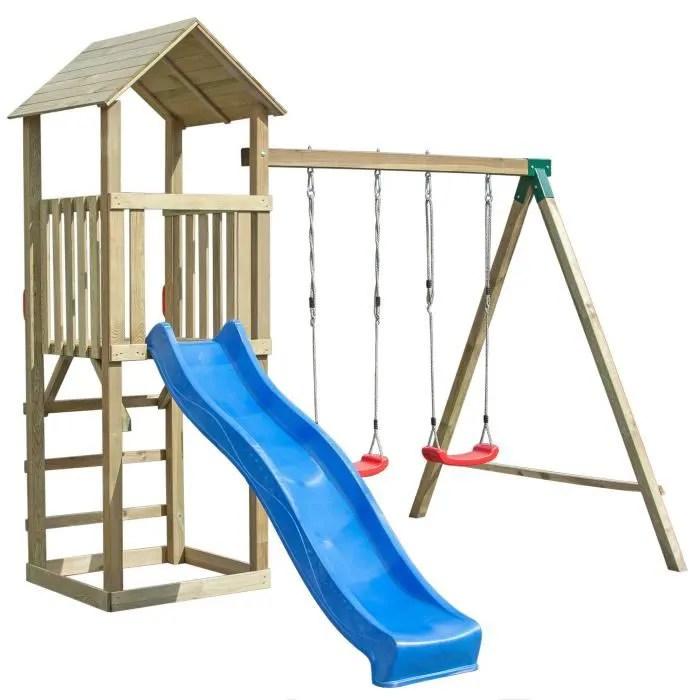balancoire portique h2 65m enfant aire de jeux en bois avec 2 balancoires 1 toboggan une tour