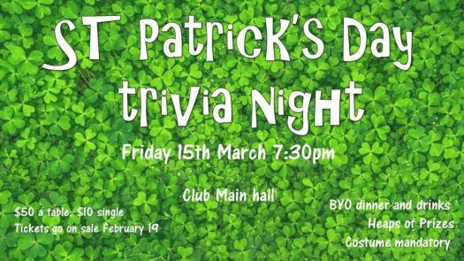 St Patricks Day trivia night