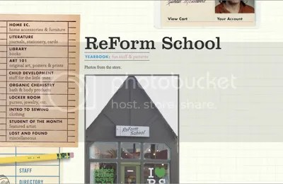 A screenshot of Reform School Online Shop for Art Craft and Design