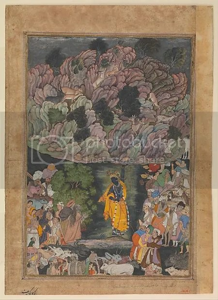 photo KrishnaHoldsUpMountGovardhanToShelterTheVillagersOfBrajFolioFromAHarivamsaTheLegendOfHariKrishnaCa1590ndash1595Present-dayPakistanProbab-1.jpg