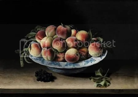 photo LouiseMoillonStillLifeWithPeachesOnALedge1620OilOnPanel.jpg