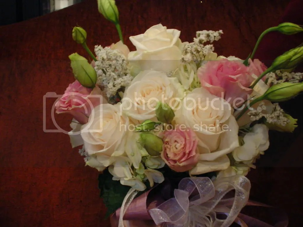 Top view of the white bouquet