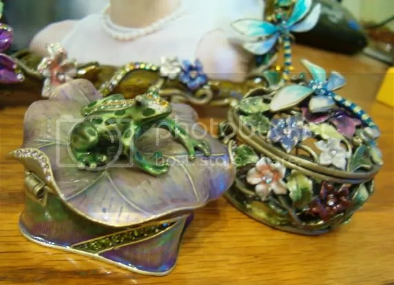 Jeweled Frog & Dragonfly Trinket Boxes