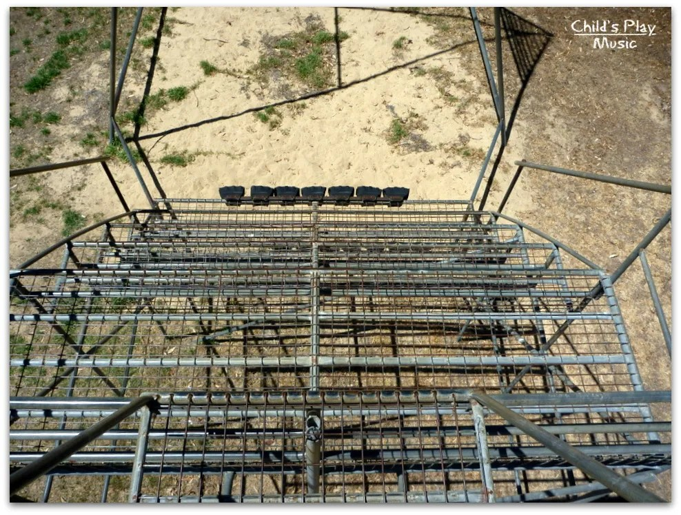 Looking down from the huge swing's bleachers - Katanning All Ages Playground