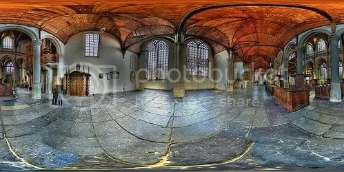 Vista equirrectangular en HDR de la Oude Kerk