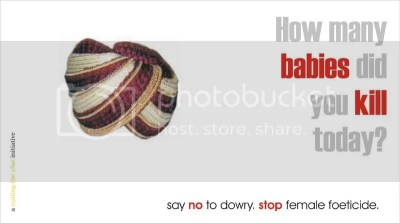 say no to dowry. stop female foeticide