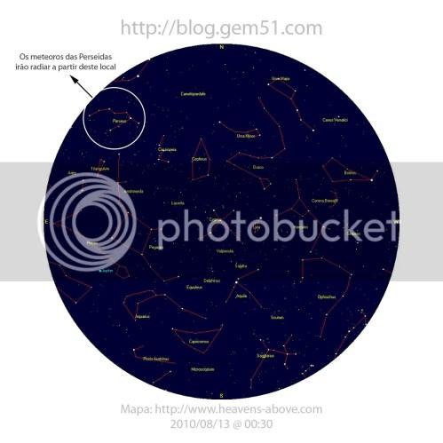 Mapa Astronomo - Constelação de Perseu