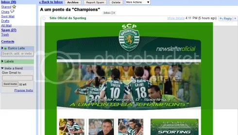 Newsletter do Sporting