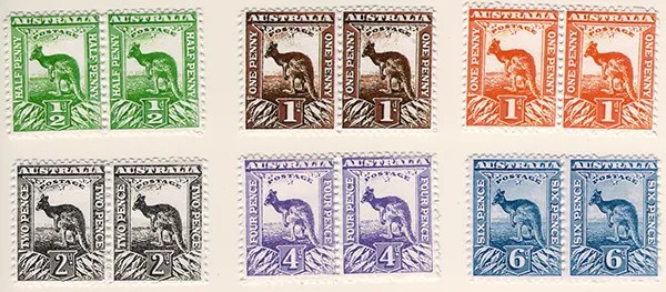 Gerald King - Alternative Australia - 1913. Baldy Essays (Low values stamps in pairs) - Perforated