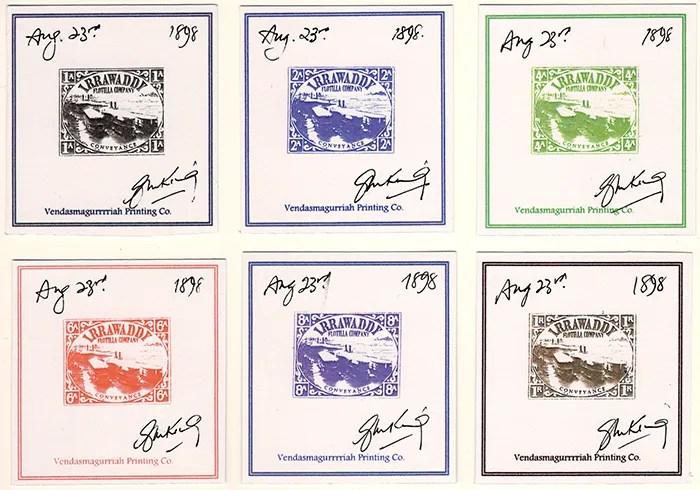 Gerald King - Alternative Burma - 1898 Irrawaddy Flotilla Company - Individually Signed Proofs