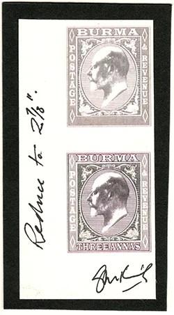 Gerald King - Alternative Burma - 1903. King Edward VII definitives - Oversized essays of the 3 Annas