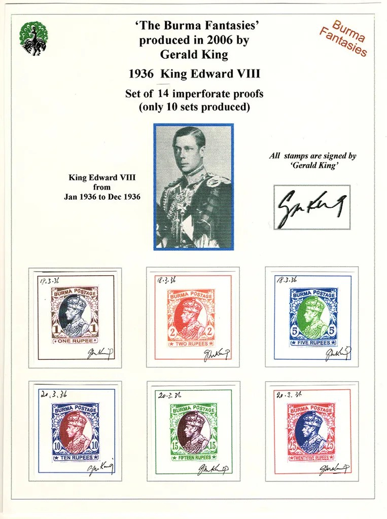 Gerald King - Alternative Burma - 1936 King Edward VIII (14 signed proofs) (Picture 2 of 2)