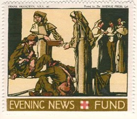 Gerald King - '1916 Daily Mail, Red Cross Fund' reproduction Cinderella stamps. Set of 6 stamps without values. Stamp 1 of 6.