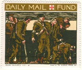 Gerald King - '1916 Daily Mail, Red Cross Fund' reproduction Cinderella stamps. Set of 6 stamps without values. Stamp 3 of 6.