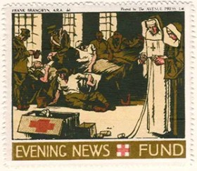Gerald King - '1916 Daily Mail, Red Cross Fund' reproduction Cinderella stamps. Set of 6 stamps without values. Stamp 6 of 6.
