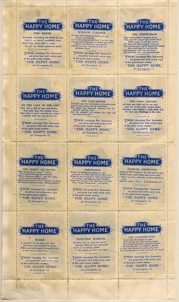 Gerald King - The Happy Home - Sheet, signed (Back). Reproduction of WWI labels from the magazine The Happy Home. Only 6 sheets exist ... and only 1 sheet of the 6 has been signed.