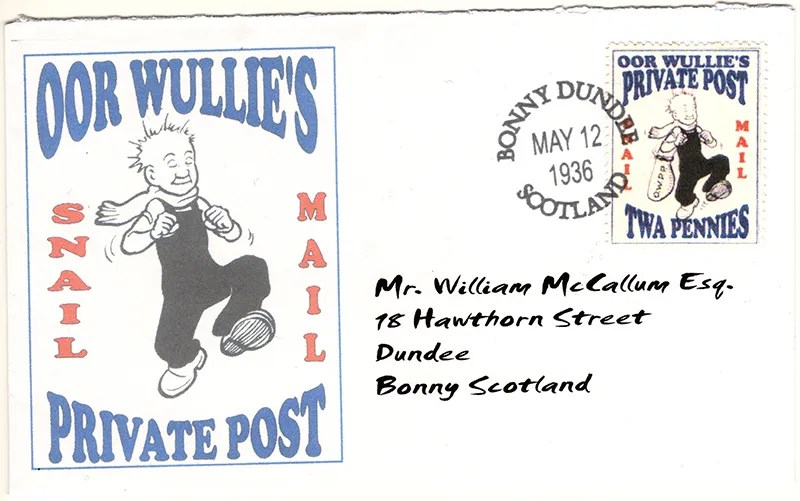 Gerald King - Oor Wullies Private Post - Snail Mail Cover (Front)