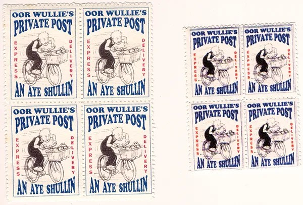 Gerald King - Oor Wullies Private Post - Express Delivery Stamps (An Aye Shullin)