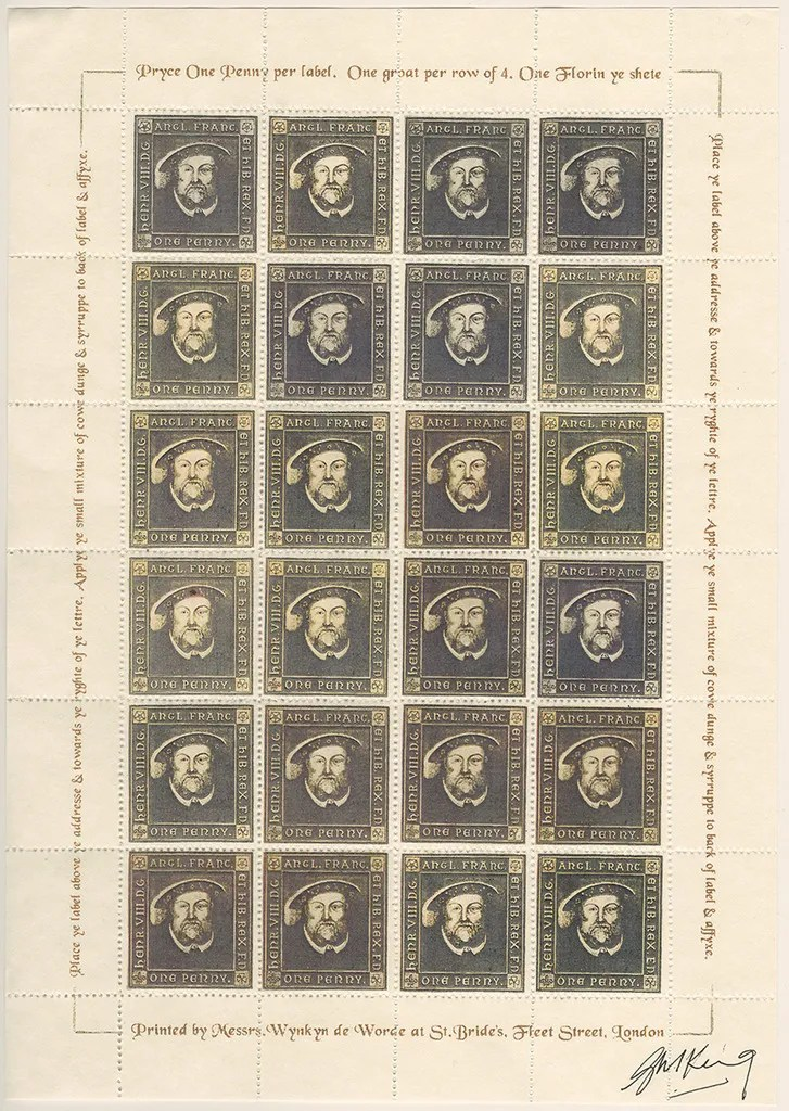 Gerald King - The Tudor House - Sheets of 24 stamps - Henry VIII (Second monarch). There are 5 different sheets of 24 stamps each, showing the five Tudor monarchs (Henry VII, Henry VIII, Edward VI, Mary I & Elizabeth I).