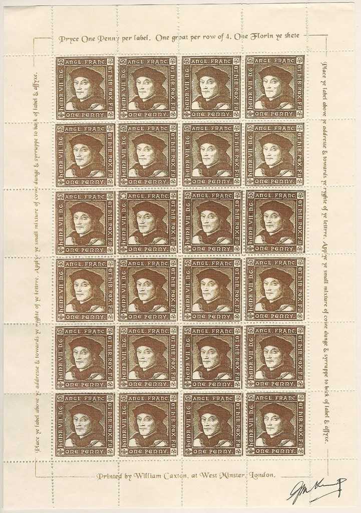 Gerald King - The Tudor House - Sheets of 24 stamps - Henry VII (First monarch). There are 5 different sheets of 24 stamps each, showing the five Tudor monarchs (Henry VII, Henry VIII, Edward VI, Mary I & Elizabeth I).