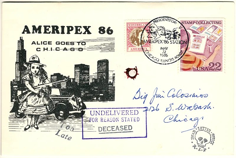 Gerald King - Ameripex 86 (Alice Goes To Chicago) - Addressed to Big Jim Colosimo - Cover (2 of 2). From May 22, 1986. James