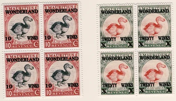 Gerald King - Wonderland - Mauritius - The Dodo - Blocks of 4 stamps - Two different values: 10 Winks and Twenty Winks. Produced in 2015.
