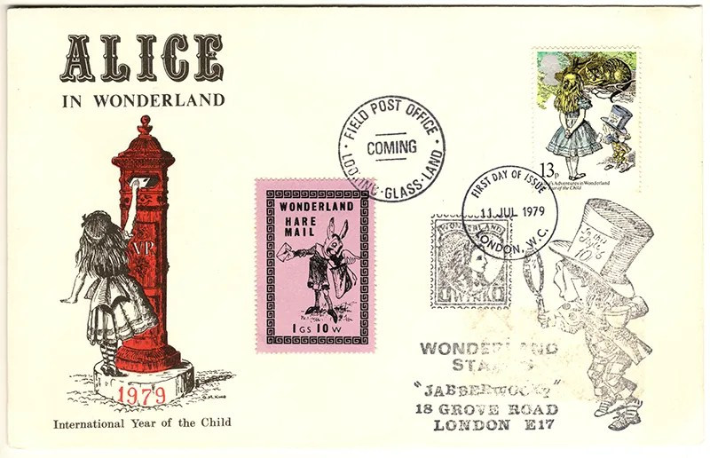 Gerald King - The Year of The Child - Set 2, Cover 4 (Jabberwocky) - Philatelic Artist Gerald M King's 'Alice in Wonderland' Mr King was especially commissioned by Lake & Brooks in 1979 to design these special covers for 'The Year of the Child'. Complete Set 2: