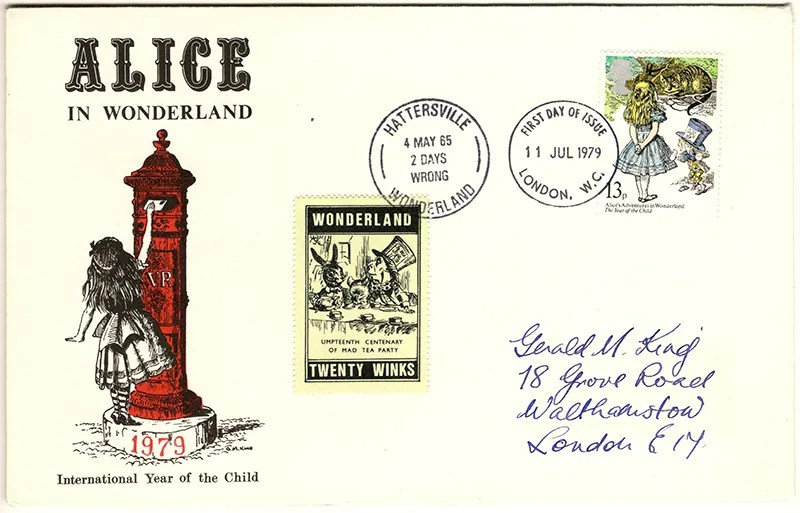 Gerald King - The Year of The Child - Set 3, Cover 2 (Addressed to GK) - Philatelic Artist Gerald M King's 'Alice in Wonderland' Mr King was especially commissioned by Lake & Brooks in 1979 to design these special covers for 'The Year of the Child'. Complete Set 3: