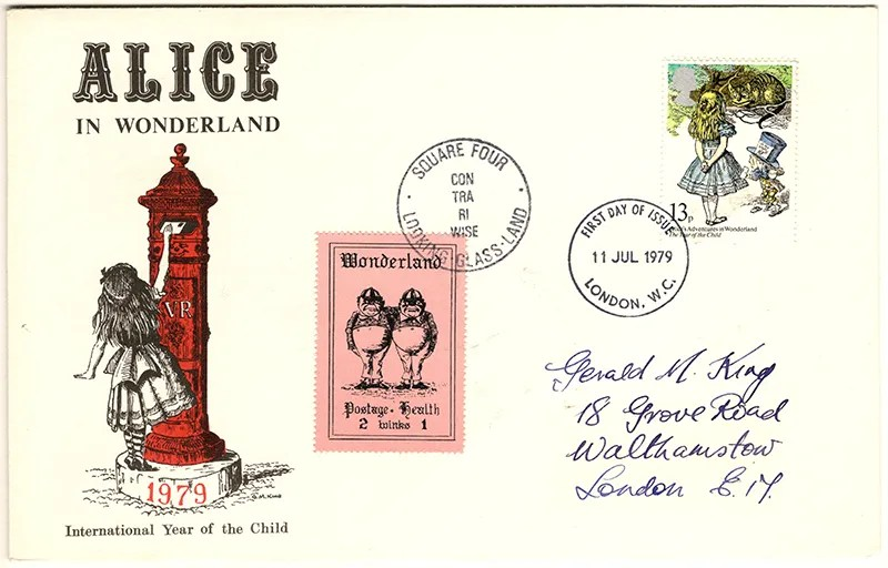 Gerald King - The Year of The Child - Set 3, Cover 3 (Addressed to GK) - Philatelic Artist Gerald M King's 'Alice in Wonderland' Mr King was especially commissioned by Lake & Brooks in 1979 to design these special covers for 'The Year of the Child'. Complete Set 3: