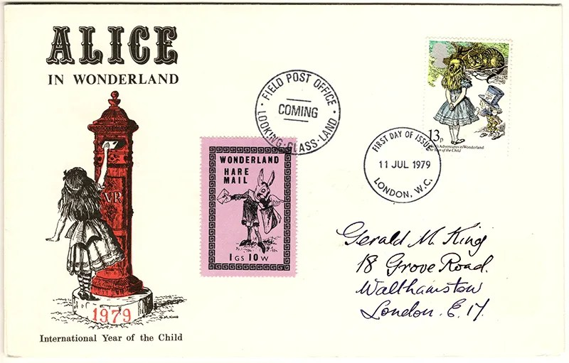 Gerald King - The Year of The Child - Set 3, Cover 4 (Addressed to GK) - Philatelic Artist Gerald M King's 'Alice in Wonderland' Mr King was especially commissioned by Lake & Brooks in 1979 to design these special covers for 'The Year of the Child'. Complete Set 3: